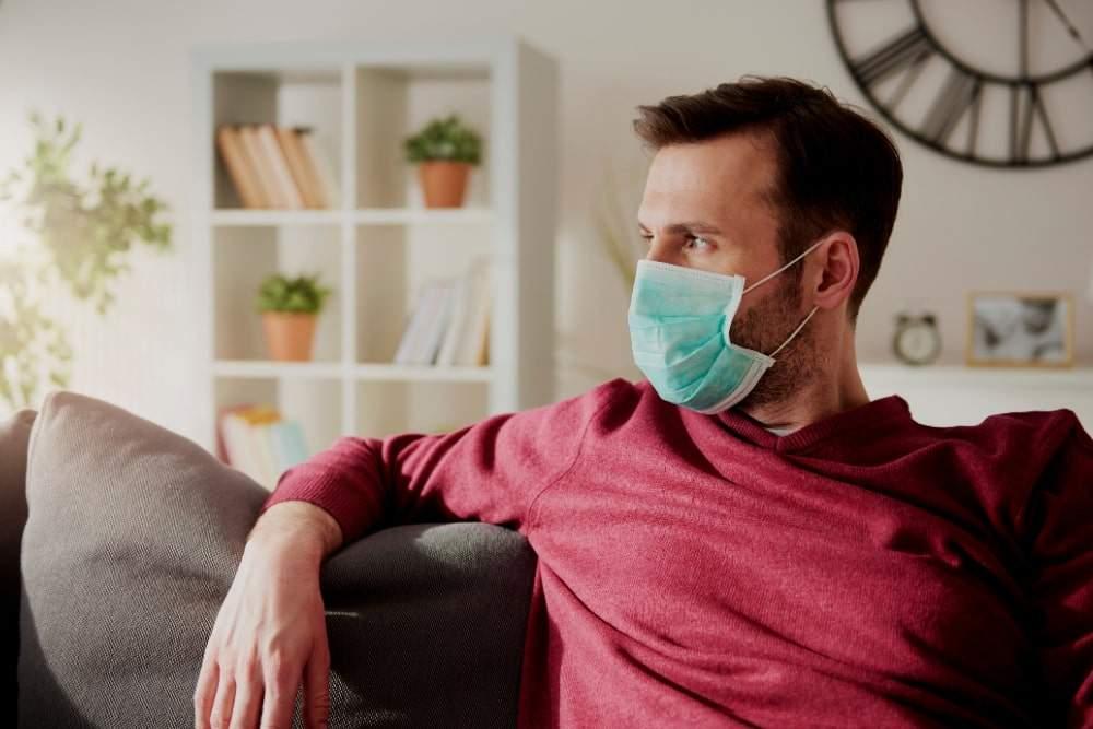 male employee home from work on coronavirus leave