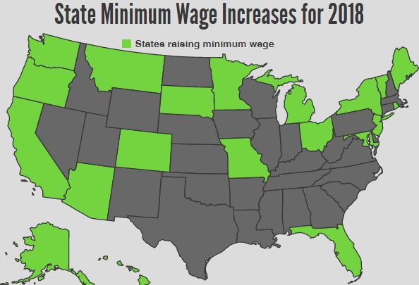 State Minimum Wage Changes in 2018