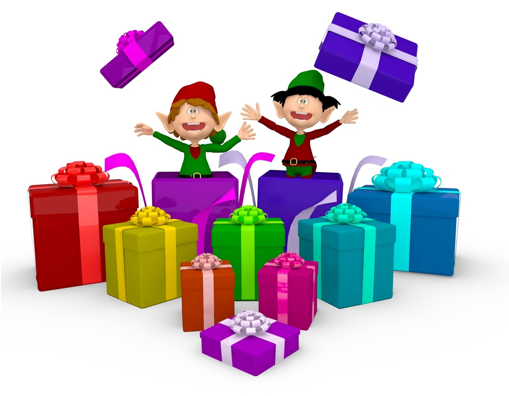 3D Elves with Christmas presents - isolated over a white background