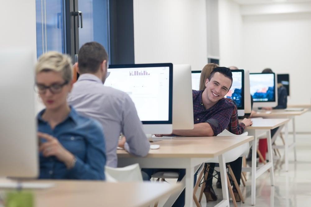 startup business, software developer working on desktop  computer at modern office-1